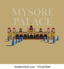 Mysore palace vector illustration