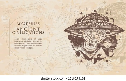 Mysteries of ancient civilization. UFO and ancient Egypt. Paleocontact concept. Renaissance background. Medieval engraving manuscript. Vintage paper with drawings, vector