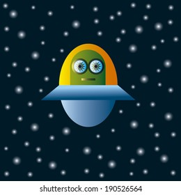 Mysterious Alien in UFO in Outer Space