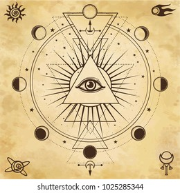 Mysterious background: pyramid, all-seeing eye, sacred geometry. Background - imitation of old paper.Esoteric, mysticism, occultism. Print, poster, t-shirt, card. Vector illustration.