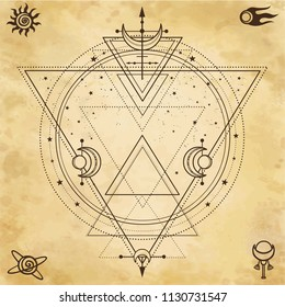 Mysterious background: sacred geometry, circles, triangles, stars. Background - imitation of old paper. Place for the text. Esoteric, mysticism, occultism.  Vector illustration.