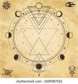 Mysterious background: sacred geometry, phases of the moon. Place for the text.Background - imitation of old paper. Esoteric, mysticism, occultism. Print, poster, t-shirt, card. Vector illustration.