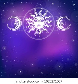 Mysterious background: the stylized sun and the moon in an image of the man and woman. Background - the star sky. Esoteric, mysticism, occultism. Print, poster, t-shirt, card. Vector illustration.