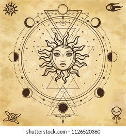 Mysterious background: sun with a human face,sacred geometry, phases of the moon. Background - imitation of old paper. Esoteric, mysticism, occultism. Print, poster, t-shirt, card. Vector illustration