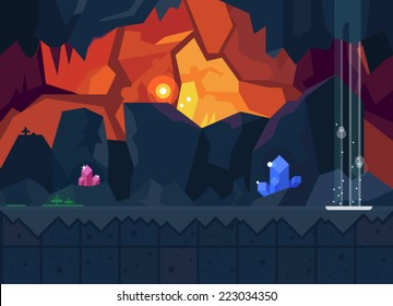 Mysterious cave with magical crystals. Vector flat background for the game. Seamless texture