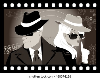 Mysterious couple of secret agents in an old movie frame, vector illustration, no transparencies, EPS 8
