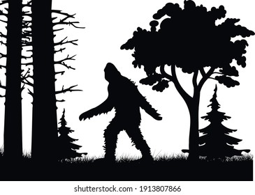 Mysterious creature bigfoot in the middle of jungle vector poster design template