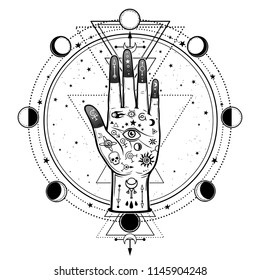 Mysterious drawing: divine hand, providence eye, sacred geometry, phases of the moon. Esoteric, mysticism, occultism. Vector illustration isolated on a white background. Print, poster, t-shirt, card.