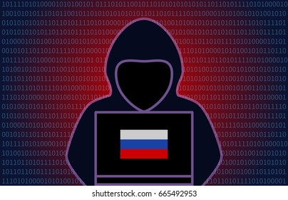 Mysterious hooded Russian hacker with Russian flag flat vector editorial illustration