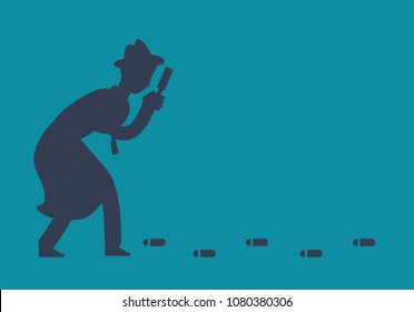 Mysterious investigator detective is following footprints vector illustration. Detective search footprint, magnifying glass inspect