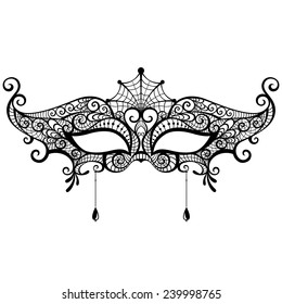 Mysterious lace masquerade mask isolated on white background. Vector illustration