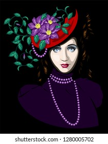 mysterious lady in hat with flowers
