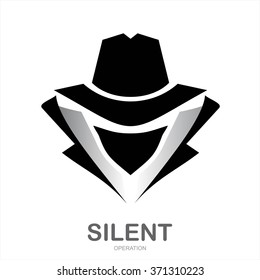 Mysterious man in black suit with the mask on white background.. Secret service agent icon. Incognito. hacker. spy agent. undercover.