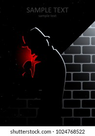 mysterious man smoking in dark alley at night, urban cinematic vector