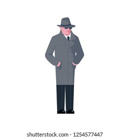 Mysterious man wearing a gray hat and coat with a raised collar isolated on white background. Vector illustration eps 10