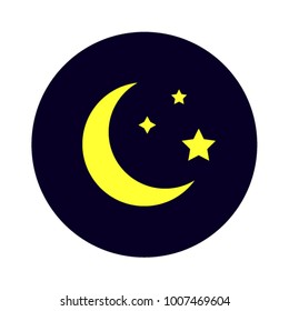 Mysterious night sky moon and stars on deep blue background flat vector illustration good night relaxation sleeping nighttime moonlight rest halfmoon moonlight midnight icon symbol astronomy app logo.