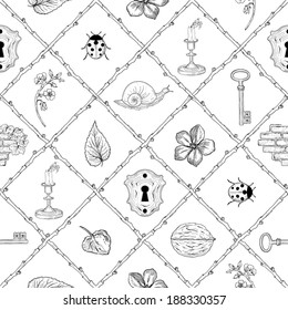 mysterious place hand drawn seamless pattern vintage engraving style
