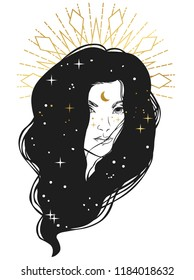 Mysterious woman's portrait with stars in her hair. Vector hand drawn illustration