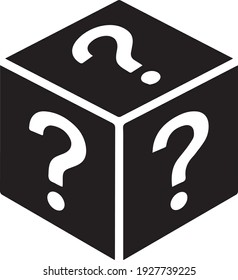 Mystery box or random loot box Icon isolated on a white background. In a Trendy flat style, for games and apps. Vector Illustration.