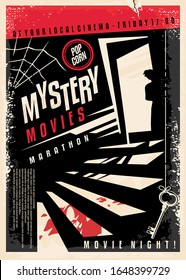 Mystery movies cinema poster design with strange silhouette looking through the basement door at blood on the stairs. Retro flyer design for film festival. Entertainment industry vector illustration.