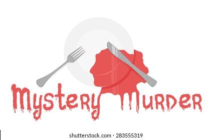 Mystery murder dinner event eps10 vector illustration