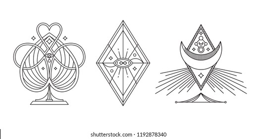 Mystery, occult, alchemy, mystical. Vector tattoo symbols.
