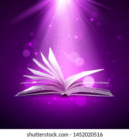 Mystery open book. Fantasy book with magic light and sparkles. Vector illustration