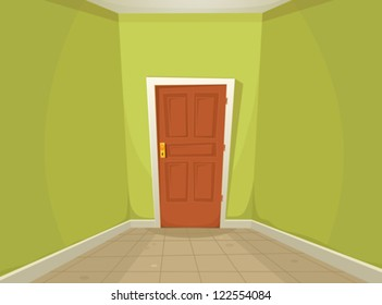 Mystery Room/ Illustration of a cartoon home or office corridor with ground tiles and a mysterious closed door