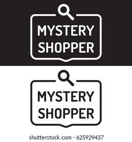 Mystery shopper. Badge icon. Flat vector illustration on white and black background.