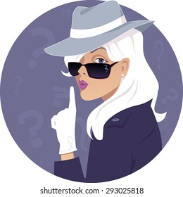 Mystery woman. Female secret agent in a hat and sunglasses, vector illustration, no transparencies, EPS 8