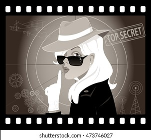 Mystery woman in an old movie frame, vector illustration, no transparencies, EPS 8