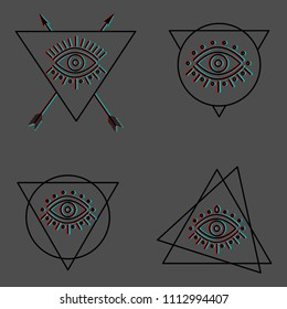 mystic all seeing eyes in different line shapes with stylized glitch 3D effect on grey background