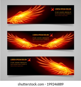 Mystic banners with orange flaming wings for your design