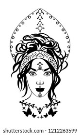 Mystic black and white illustration with a beautiful girl from outer space.Occult drawing of a powerful nymph.