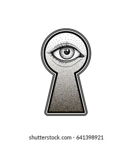 Mystic eye peeping through the keyhole. Graphic outline drawing in Dotwork style.  Isolated engraving vector illustration for print, tattoo, coloring book, fabric, t-shirt, cloth.
