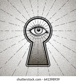 Mystic eye peeping through the keyhole. Graphic outline drawing in Dotwork style. Engraving vector illustration for print, tattoo, coloring book, fabric, t-shirt, cloth.