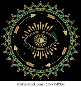 Mystic eye symbol folk illustration. Art deco style print with gold and green elements. Bohemian sacred mandala