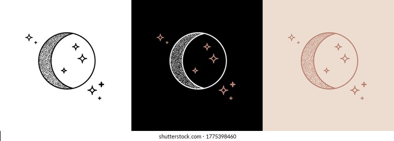 Mystic moon linear logo icon. For cosmetics, beauty, tattoo, spa, manicure, jewelry store. Antique style hand drawn art sun and crescent moon. Boho chic tattoo design. Mystical drawing.