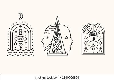 Mystic Symbols. Esoteric, Alchemy, sacred geometry.
