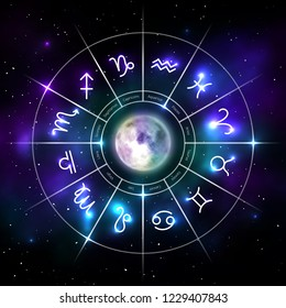 Mystic zodiac wheel with star signs in neon. Astrology circle on cosmic background and moon in middle. Mystic astronomy and fortune telling. Zodiac calendar astrology constellation vector illustration