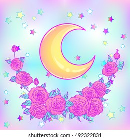Mystical background with sky, moon, stars and red roses on a white background. Tattoo. Hipster style, pastel goth, vibrant colors. Vector illustration.