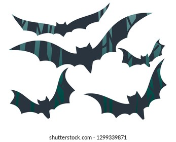 Mystical bats silhouette in forest isolated on white