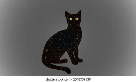 Mystical Black Cat. Vector magic cat silhouette with stars for wall printing, T-shirts, tattoos, social media posts and stories