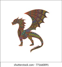 Mystical creatures dragon vector illustration with colorful Mexican style pattern