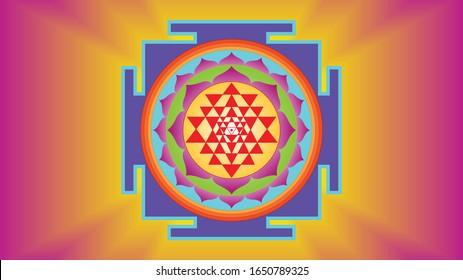 Mystical Diagram Form Ancient Shri Yantra Hinduism Mandala Symbol Sacred Geometry Consists Of Nine Interlocking Triangles That Surround A Central Point