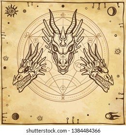 Mystical drawing: animation head of a dragon. Space symbols, alchemy circle  transformations. Magic, esoterics, occultism, fairy tale. Background - imitation of ancient paper. Vector illustration.