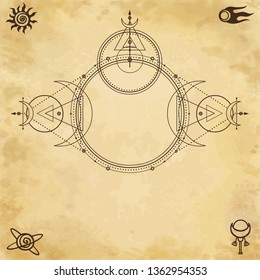 Mystical drawing: circles, triangles, moon, scheme of energy. Sacred geometry. Space symbols. Alchemy, magic, esoteric, occultism. Background - imitation of old paper. Vector illustration.
