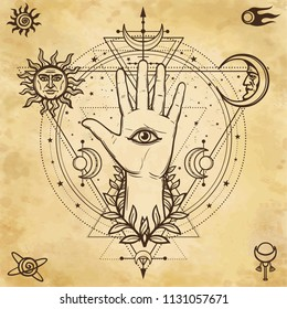 Mystical drawing: divine hand, all-seeing eye, circle of a phase of the moon.   Sacred geometry. Background - imitation of old paper. Vector  illustration. Print, poster, t-shirt, card.