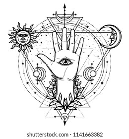 Mystical drawing: divine hand, all-seeing eye, circle of a phase of the moon.   Sacred geometry. Esoteric, paganism. Vector illustration isolated on a white background. Print, potser, t-shirt, card.