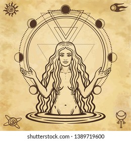 Mystical drawing: the female goddess, Circle phase of the moon. Magic, esoteric, occultism, fairy tale. Space symbols. Background - imitation of ancient paper.  Vector illustration.